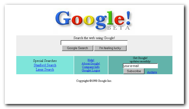 Google's site in 1998