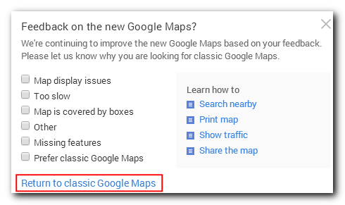 Confirm your return to classic maps