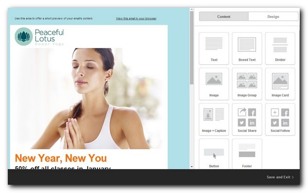 Relaxation newsletter theme in Mailchimp