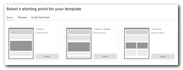 Template starting point in Mailchimp