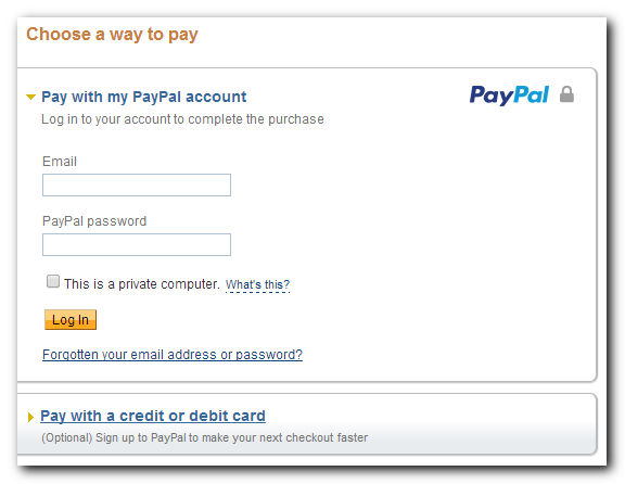 Paypal checkout using Paypal account