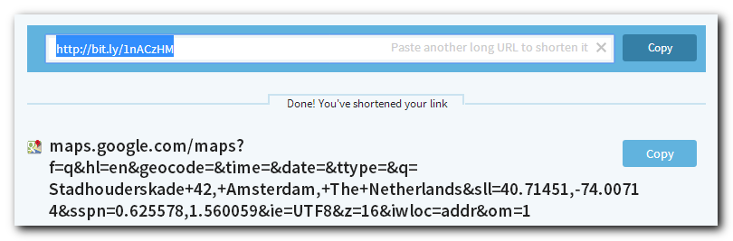 The result of shortening a URL on bitly
