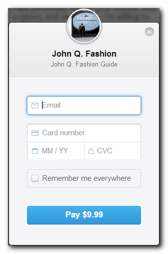 Stripe's checkout screen