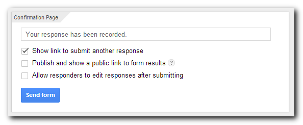 Survey confirmation settings