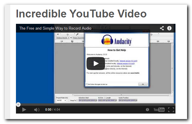 Wordpress Post with video embedded